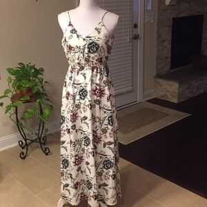 LOFT floral long dress with spaghetti straps